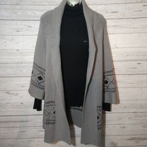 Long gray open front cardigan size small